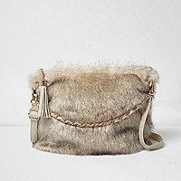 Girls cream faux fur chain bag