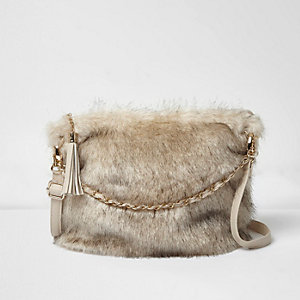Girls cream faux fur chain bag