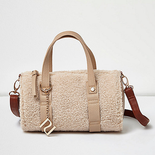 Girls cream fleece bowler bag