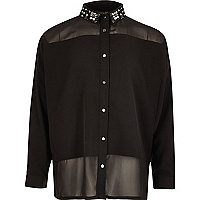 Schwarze, verzierte Bluse mit Kragen