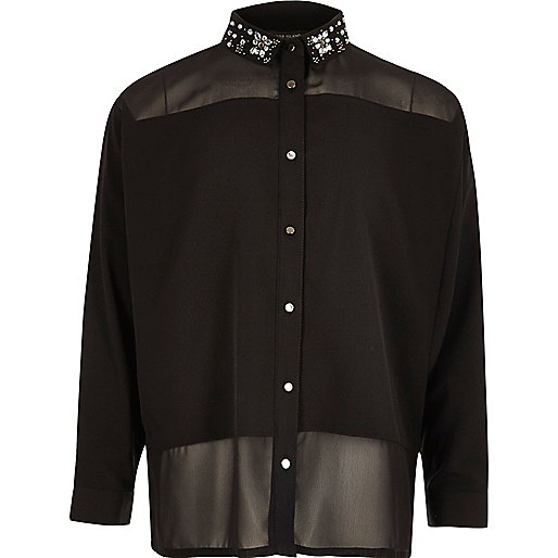 Girls black embellished collar blouse