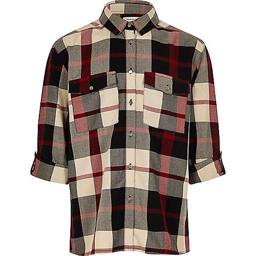 Girls red check shirt