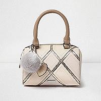 Girls cream metallic grid bowler bag