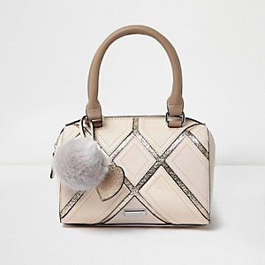 Girls cream metallic grid bowler bag