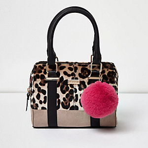 Sac de bowling noir à imprimé léopard pour fille