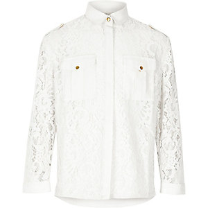 Girls white lace military shirt