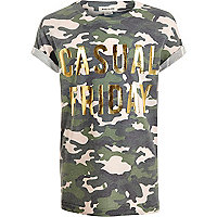 Girls khaki camo metallic print T-shirt