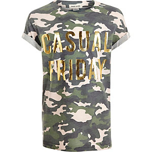 Girls khaki camo metallic print T-shirt