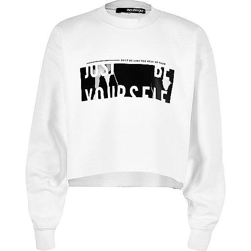 Girls white Newlife print sweatshirt