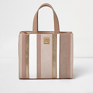 Girls pink metallic stripe boxy tote bag