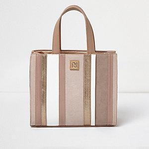 Gestreifte, kastige Tote Bag in Pink-Metallic