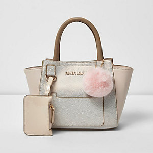 Girls cream metallic winged tote bag
