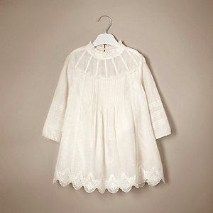 Mini girls cream lace silk dress