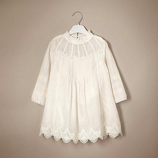 Mini girls cream lace silk dress