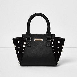 Schwarze Tote Bag mit Nieten