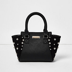 Girls black dome stud winged tote handbag