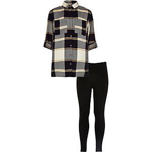 Girls blue check shirt leggings set