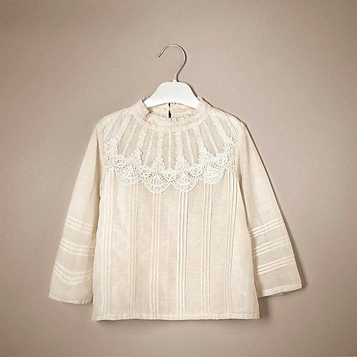 Mini girls cream victoriana silk lace top