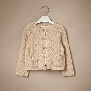 Mini girls cream cable knit cashmere cardigan