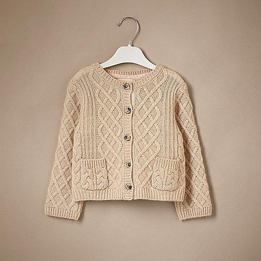 Mini girls cream cable knit cashmere cardigan