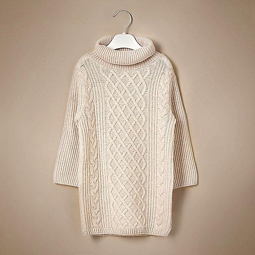 Mini girls cable knit cashmere swing dress