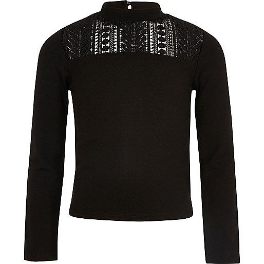 Girls black lace insert top