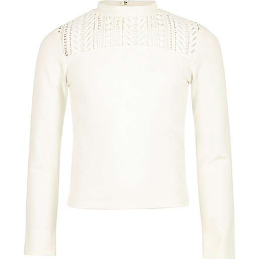 Girls white lace insert top