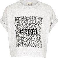 T-shirt court rose clair à imprimé #ootd pour fille