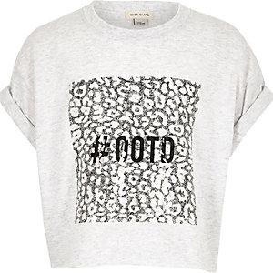 Girls light pink '#ootd' print crop t-shirt