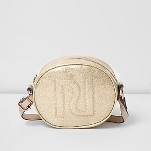 Girls gold glitter RI cross body bag