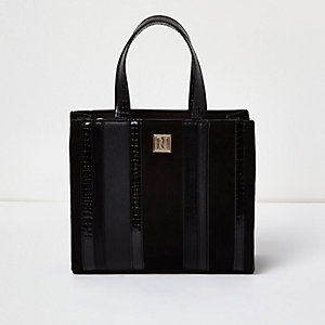 Girls black metallic stripe boxy tote bag