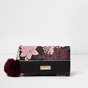 Porte-monnaie à trois volets imprimé foulard rose pour fille