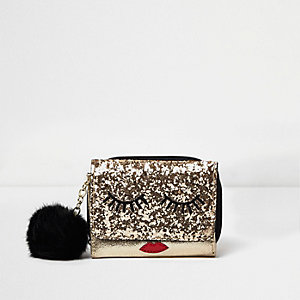 RI gold glitter eyelash purse