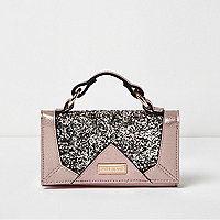 Girls pink glitter trifold purse