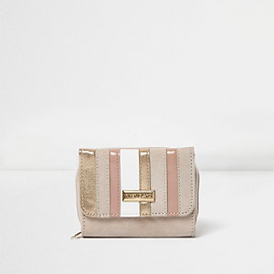 Girls nude metallic strip trifold purse