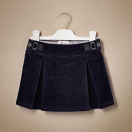 Mini girls navy corduroy skirt