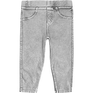 Mini girls grey denim-look leggings
