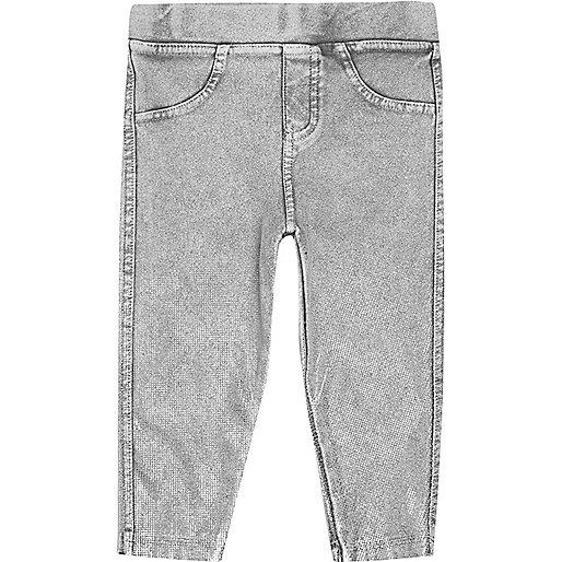 Mini girls grey denim-look leggings