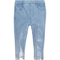 Leggings im Jeans-Look in Blau-Metallic