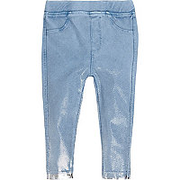 Legging effet jean bleu métallisé mini fille