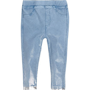 Mini girls metallic blue denim-look leggings