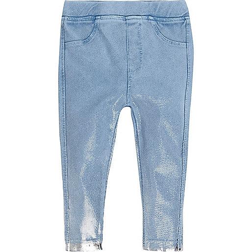 Mini girls metallic blue denim-look leggings