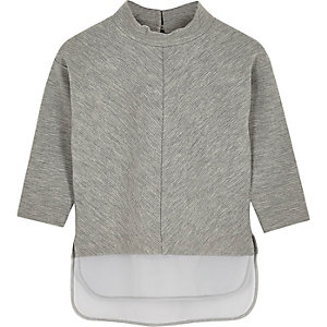 Mini girls grey layered high neck top