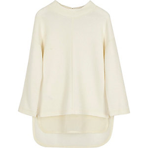 Mini girls cream layered high neck top
