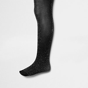 Girls black and silver sparkly tights