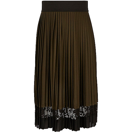 Girls khaki pleated lace panel midi skirt
