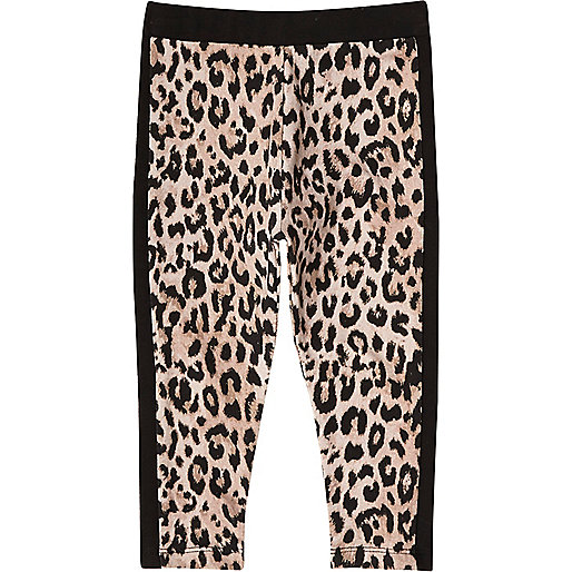 Mini girls yellow animal print leggings