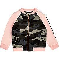 Mini girls pink camo bomber jacket