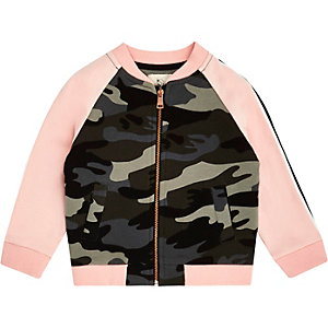 Mini girls pink camo bomber jacket