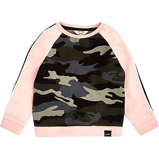 Sweat imprimé camouflage rose mini fille